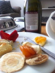 A delicious cheese platter courtesy of room service.